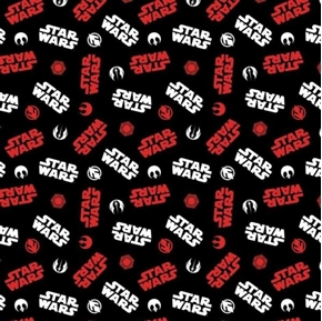 Star Wars Tossed Icons White and Red Movie Icon Black Cotton Fabric