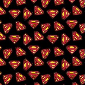 Superman Logo Iconic S Logos on Black Cotton Fabric