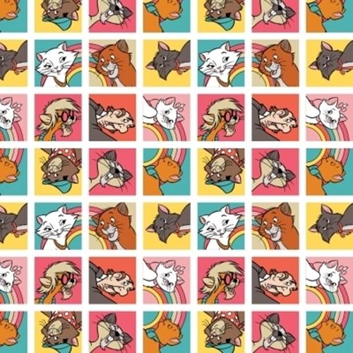 Disney The Aristocats Collection Cat Blocks Marie Cotton Fabric