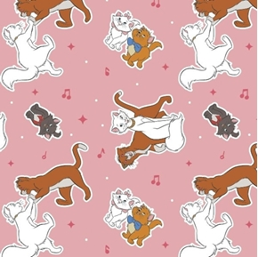 Disney The Aristocats Collection Aristocat Toss Pink Cotton Fabric
