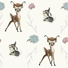Disney Bambi Thumper Cross Flowers Acorns Twigs Cotton Fabric
