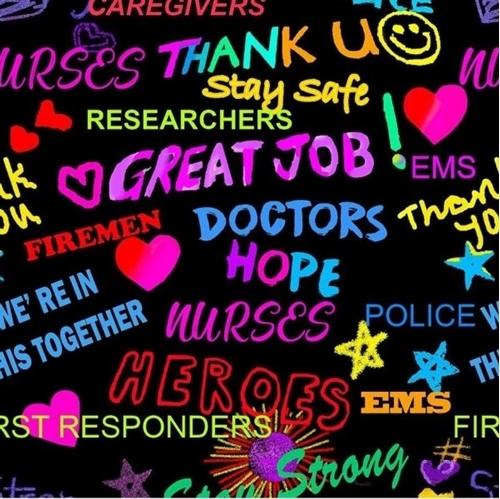 Thank You Heroes Great Job Nurses First Responders Black Cotton Fabric