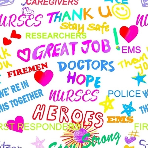 Thank You Heroes Great Job Nurses First Responders White Cotton Fabric
