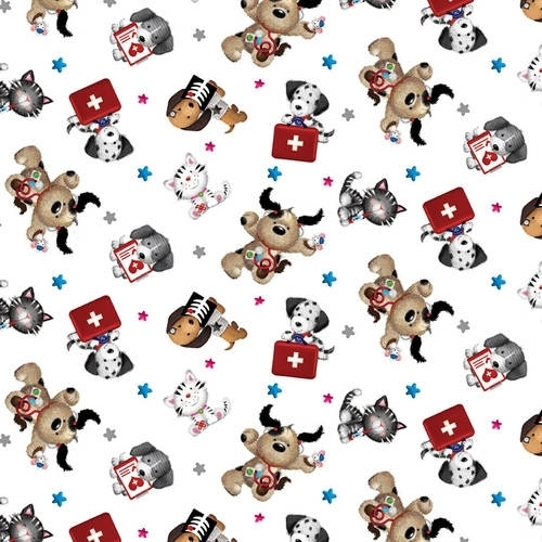 Big Hugs Tossed Allover First Aid Cats and Dogs Medical Cotton Fabric