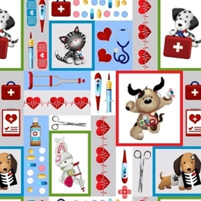 Big Hugs First Aid Cats and Dogs Medical Blocks Cotton Fabric