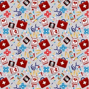 Big Hugs Tossed Allover First Aid Kit Medical Bandaids Cotton Fabric