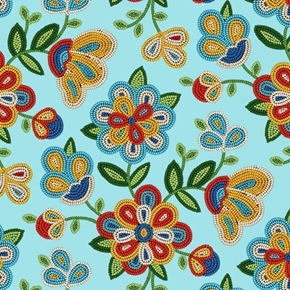 Tucson Southwest Beaded Flowers Beading Light Turquoise Cotton Fabric
