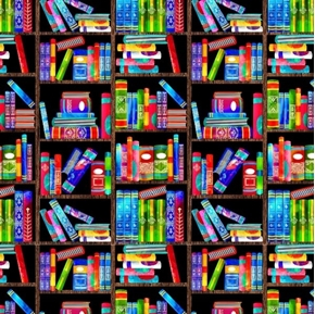 School Days Messy Bookshelves Books Bright Book Cotton Fabric