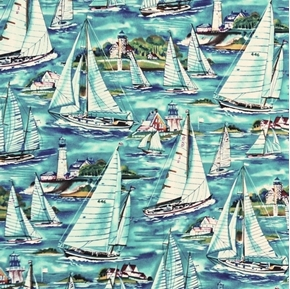 Sailboats and Lighthouses Sailing on Water Cotton Fabric