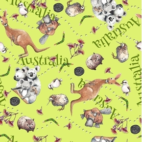 Kiwis and Koalas Australia Animals Kangaroo Wombat Green Cotton Fabric
