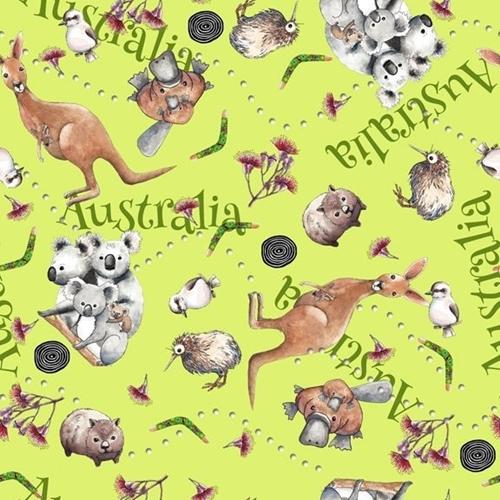 Kiwis and Koalas Australia Animals Kangaroo Wombat Green Cotton Fabric