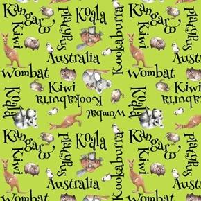 Kiwis and Koalas Word Toss Australia Animal Names Green Cotton Fabric