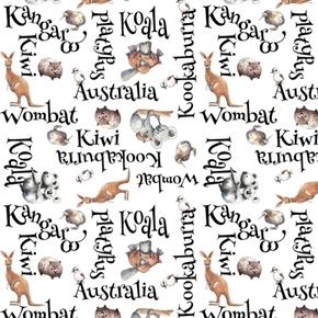 Kiwis and Koalas Word Toss Australia Animal Names White Cotton Fabric