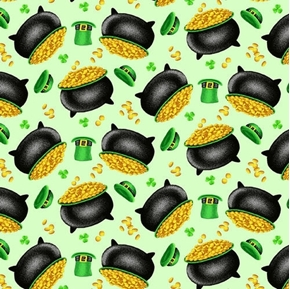 Pot of Gold Tossed Pots and Leprechaun Hats St Patricks Cotton Fabric