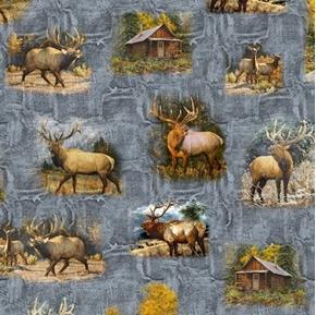 Wild Elk Vignettes Elk Scenes in the Woods Cabins Gray Cotton Fabric