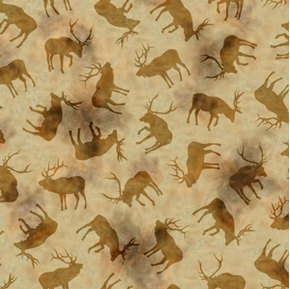 Wild Elk Silhouettes Elk Tossed on Tan Cotton Fabric