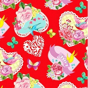 Heart and Soul Tossed Lace Hearts Valentines Red Cotton Fabric