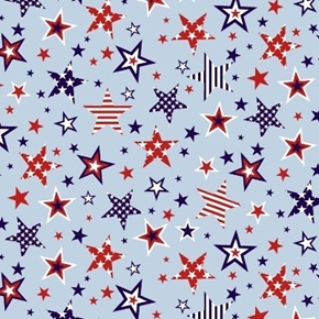 American Style Patriotic Stars in Stars Light Blue Cotton Fabric