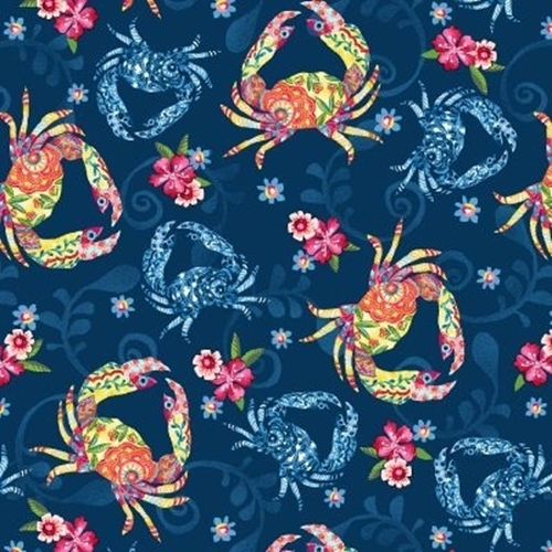 Blooming Ocean Crabs Decorated with Flowers Blue Crab Cotton Fabric