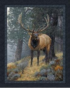 Foggy Mountain Challenge Elk Gray Bruce Miller Digital Fabric Panel