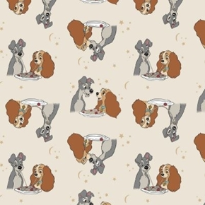 Disney Lady and the Tramp Sharing Spaghetti Cream Cotton Fabric