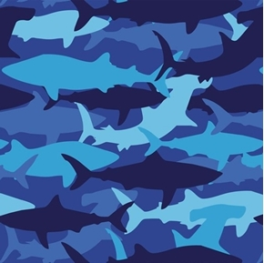 Wild Life Shark Camo Fish Camouflage Blue Cotton Fabric