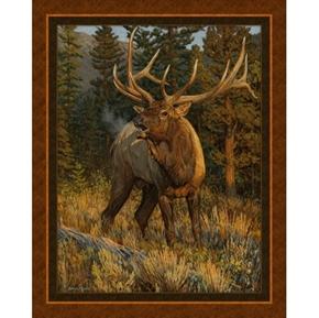 Fall Challenge Wild Elk Brown Woods Bruce Miller Digital Fabric Panel