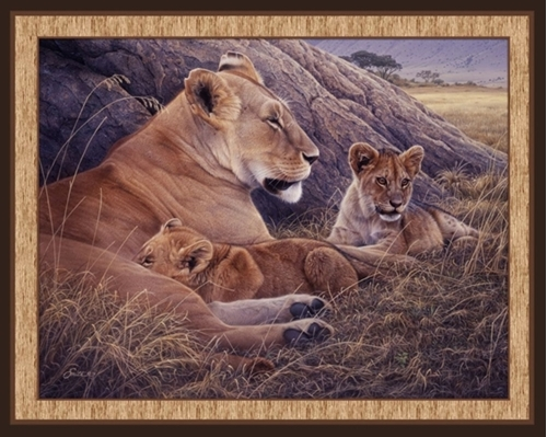 Family Pride Lioness and Cubs Daniel Smith Digital Fabric Panel