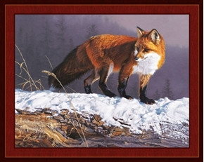 Red Rhapsody Red Fox in the Snow Daniel Smith Digital Fabric Panel