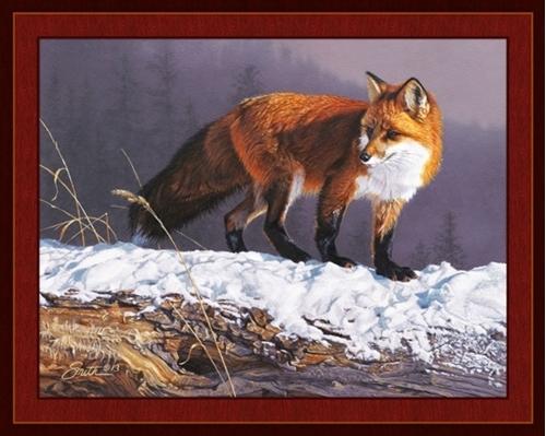 Red Rhapsody Red Fox in the Snow Daniel Smith Digital Fabric Panel