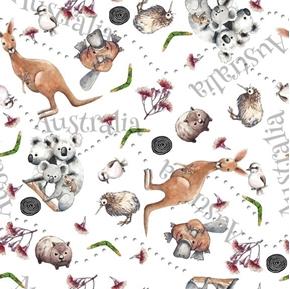 Kiwis and Koalas Australia Animals Kangaroo Wombat White Cotton Fabric