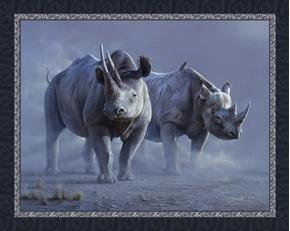 Black Rhinos African Rhinoceros Daniel Smith Digital Fabric Panel