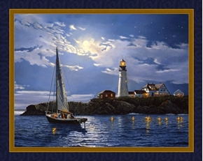 Serenity Moonlight Sail Lighthouse Dave Barnhouse Digital Fabric Panel