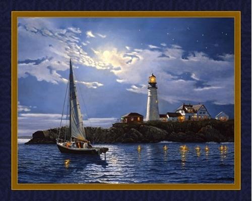 Serenity Moonlight Sail Lighthouse Dave Barnhouse Digital Fabric Panel