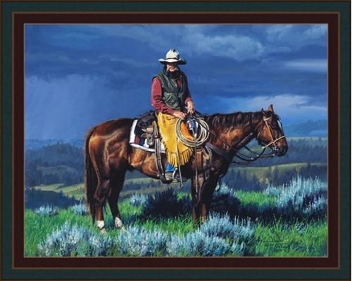 Before the Storm Cowboy David Graham Digital Cotton Fabric Panel