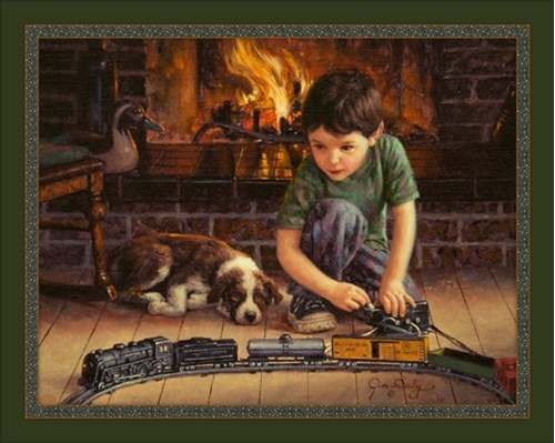 The Engineer Little Boy Toy Train Set Jim Daly Digital Fabric Panel