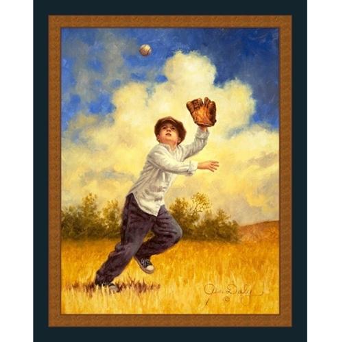 Can't Miss Boy Catching Baseball Jim Daly Digital Fabric Panel
