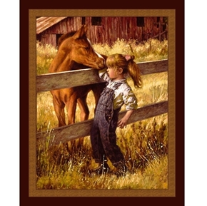 A Quick Sniff Little Girl and Pony Jim Daly Digital Fabric Panel