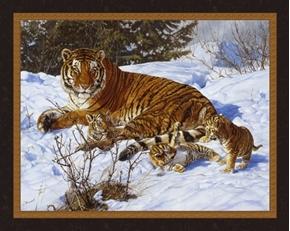 My Three Sons Siberian Tiger Family John Banovich Digital Fabric Panel