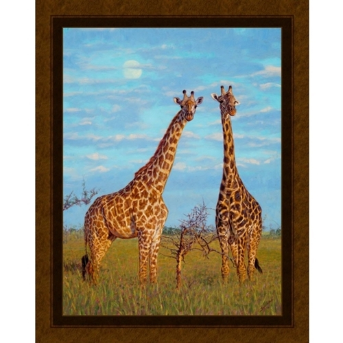 Early Moon African Giraffe John Banovich Digital Cotton Fabric Panel