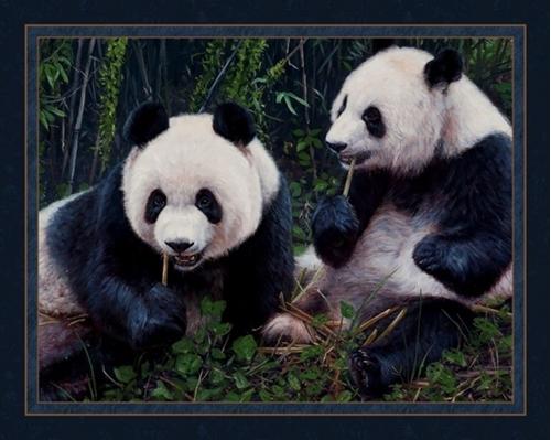 Panda Pair Pandas Eating Bamboo John Banovich Digital Fabric Panel