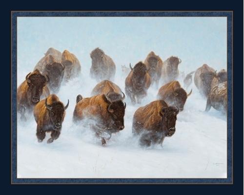 Silent Thunder Buffalo Stampede John Banovich Digital Fabric Panel