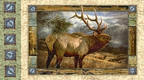 Wild Elk Bugling Majestic Elk Stormy Sky 24x44 Cotton Fabric Panel