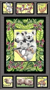 Kiwis and Koalas Australian Animals Kangaroo 24x44 Cotton Fabric Panel