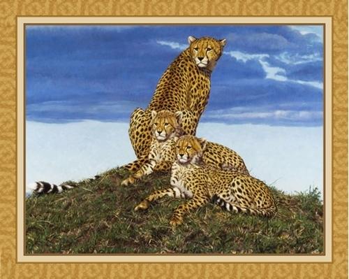 Storm Watchers Cheetah Family John Banovich Digital Fabric Panel