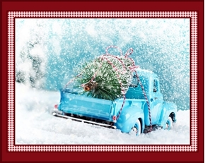 Classic Christmas Holiday Blue Vintage Truck Digital Fabric Panel
