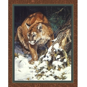 Winter Lookout Wild Cougar John Seerey-Lester Digital Fabric Panel