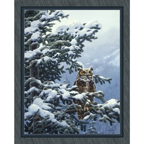 Winter Vigil Great Horned Owl John Seerey-Lester Digital Fabric Panel