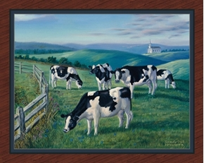 Amazing Grazing Cows in Pasture Farm Digital Cotton Fabric Panel