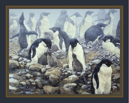 Spring Flurry Adelie Penguins John Seerey-Lester Digital Fabric Panel